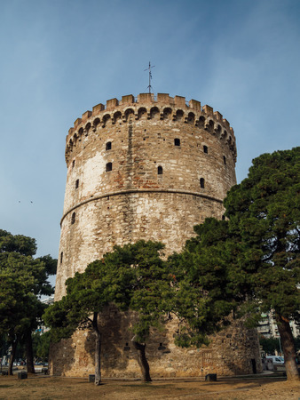 White Tower of Thessaloniki - medieval prison tower, now a museum - wide angle shot