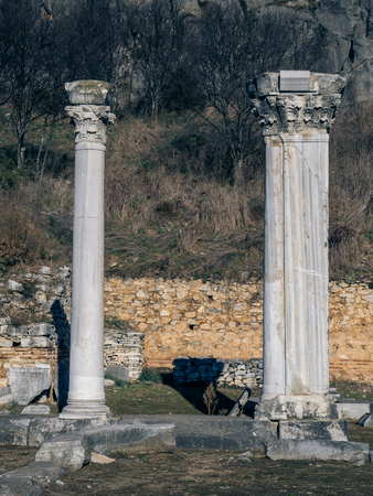 Ancient ruins - Greek columns at Philippi, Greece