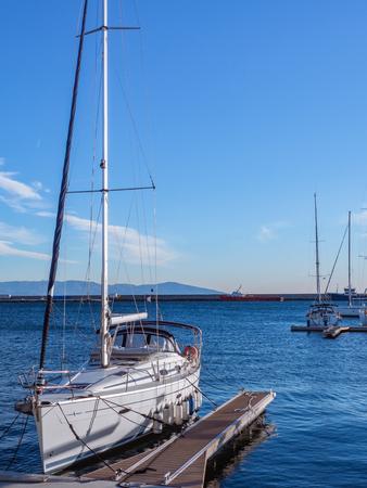 Cool yacht boat docked in the marina - Kavala, Greece