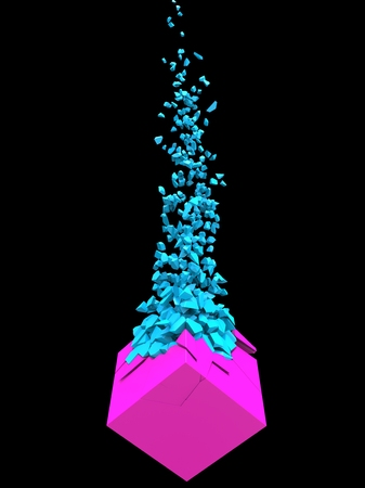 Pink cube shatters into thousand small blue pieces