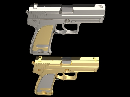 Golden and silver shiny modern hand guns - top down view Stock Photo