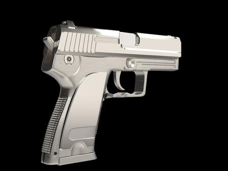 Silver modern hand gun with chrome hand grip - side view