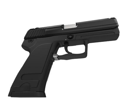 Black modern compact tactical hand gun - low angle shot