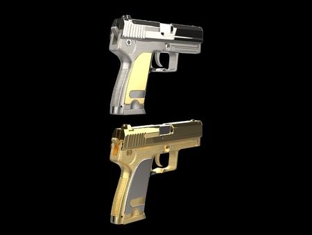 Golden and silver shiny modern hand guns - rear view