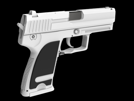 Modern white hand gun with black rubber grip Stock Photo