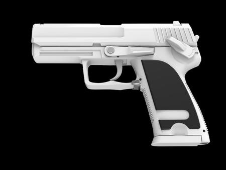 Modern white hand gun with black rubber grip - side view
