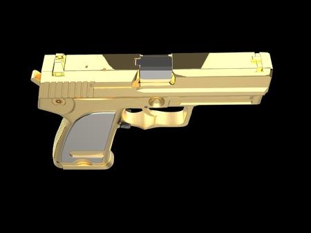 Golden modern hand gun with silver hand grip - top down view