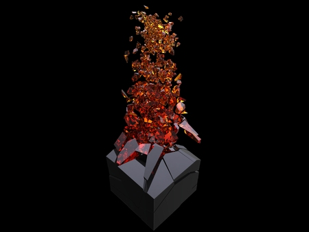 Black cube exploding into thousand amber crystal pieces