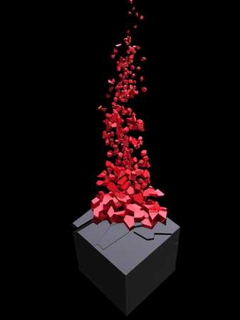 Abstract black cube shattering into million red small pieces