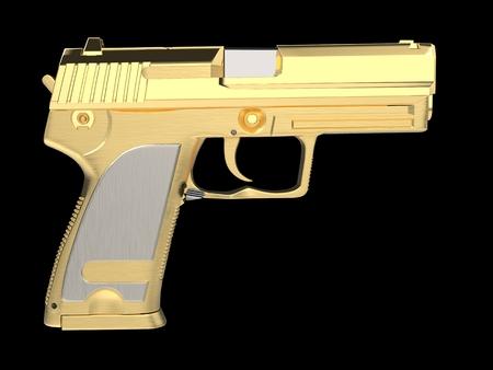 Golden modern hand gun with silver hand grip - side view