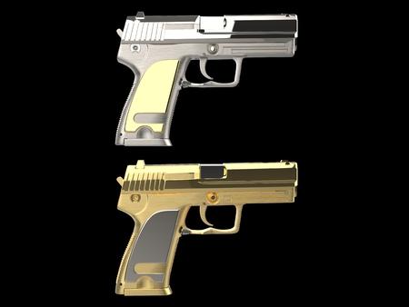 Golden and silver shiny modern hand guns