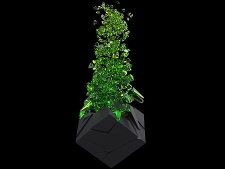 Black cube exploding into thousand green crystal pieces