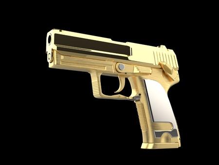 Shiny golden modern hand gun with silver hand grip