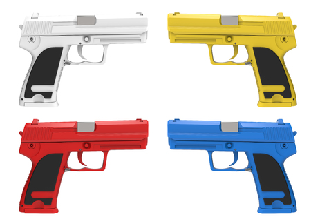 Modern pistols and hand guns in various colors