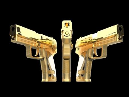 Three beautiful shiny golden guns side by side Stock Photo