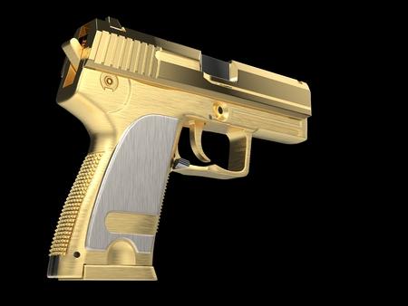 Golden modern hand gun with silver hand grip - back view