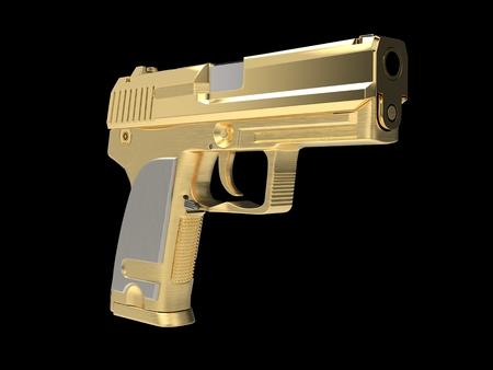 Golden modern hand gun with silver hand grip