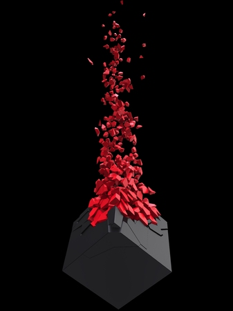 Black cube shattering into million red small pieces