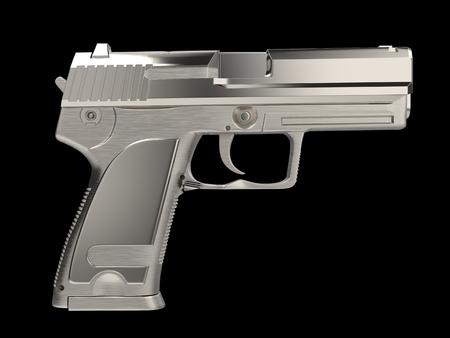 Silver modern hand gun - side view