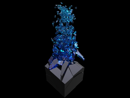 Black cube exploding into thousand blue crystal pieces