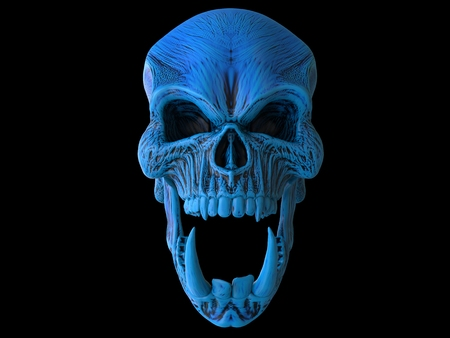 Blue angry demon skull with big and sharp lower teeth Stock Photo