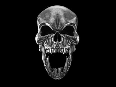 Screaming metal orc skull with huge lower teeth Stock Photo