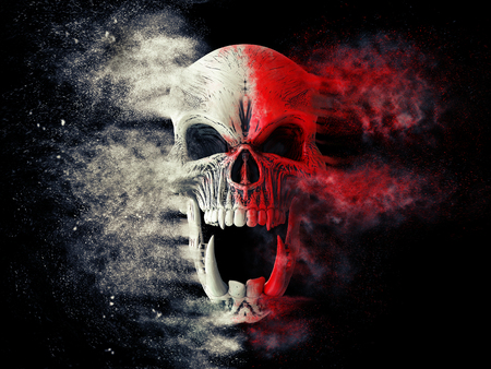 Red and white screaming demon skull disintegrating into dust