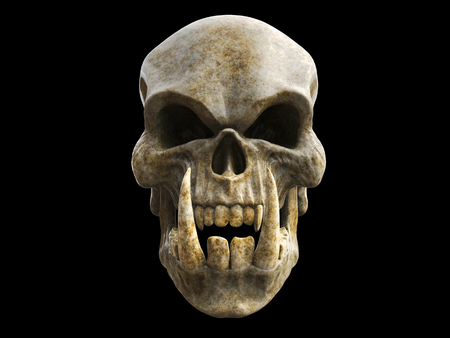 Decaying demon skull with big sharp lower teeth Stock Photo