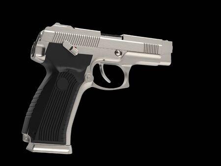 Brushed steel tactical hand gun - top down view