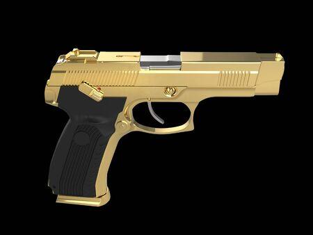 Shiny golden tactical hand gun
