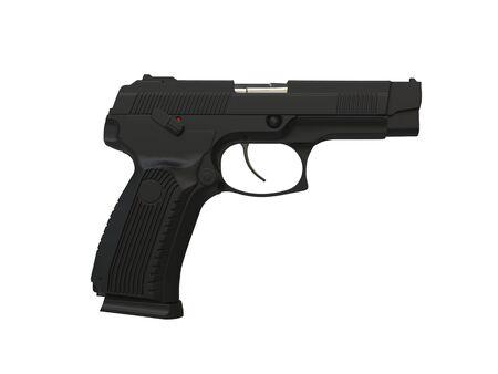 Modern matte black tactical hand gun