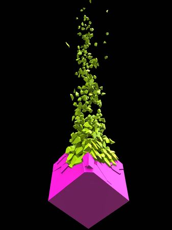 Pink abstract cube shape exploding into thousand bright green pieces