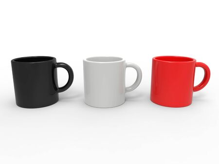 Red, black and white coffee mugs