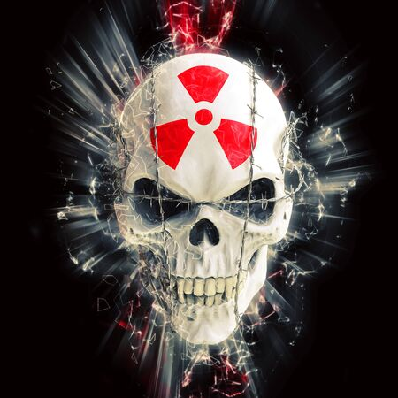 Glowing white skull bound with barbed wire - red radioactivity symbol on the forehead
