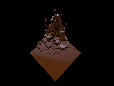 Chocolate brown cube breaking into small fragments
