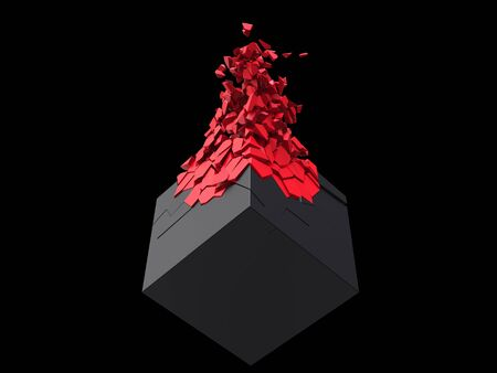 Matte black cube exploding into small red fragments