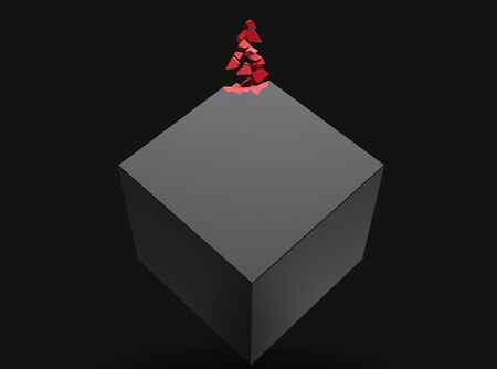 Black cube slowly dissolving into red crystals