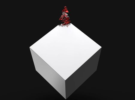 White cube slowly dissolving into red crystals