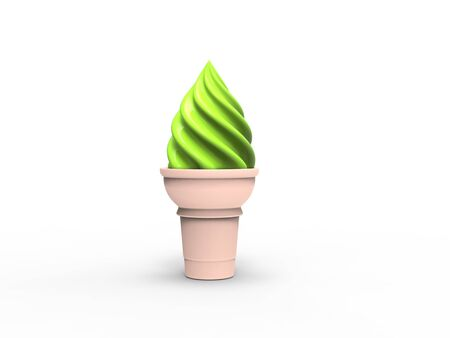 Green ice cream in small cone 写真素材
