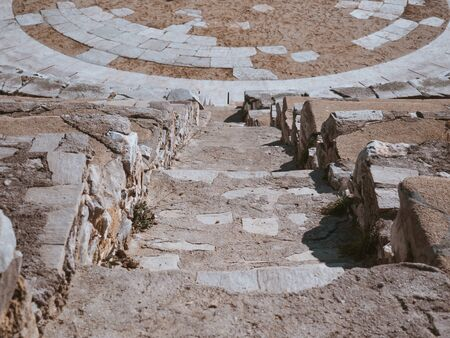 Stair steps of the ancient amphitheater in Greece