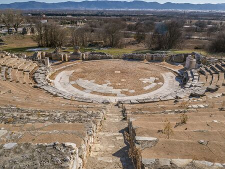 Overlook of the ancient amphitheater in Philippi - Greece