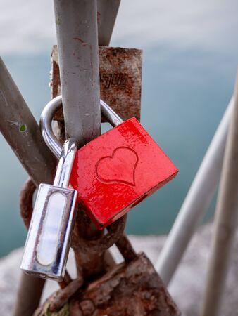 Lover padlocks on the bridge - detail shot