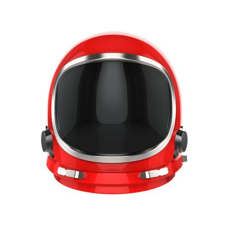 Red vintage astronaut helmet - isolated on white background 写真素材 - 130121159