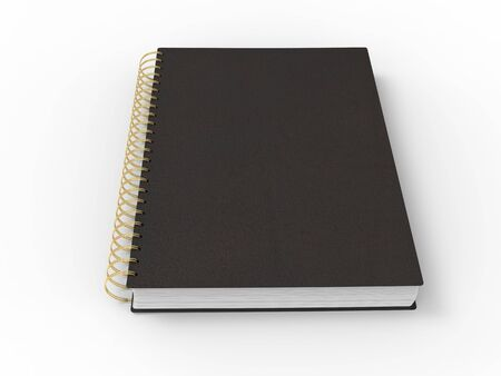 Black notebook with golden spiral binding and leather covers