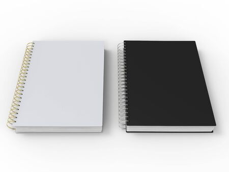 Black and white notebooks with spiral binding