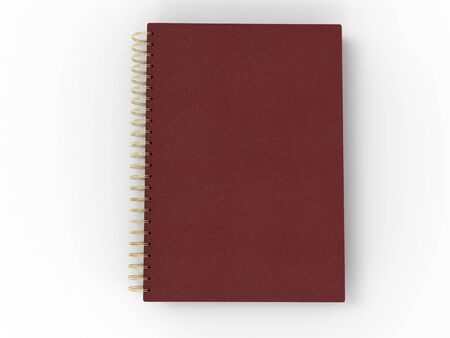 Red leather notebook - spiral binding - top down view Stockfoto