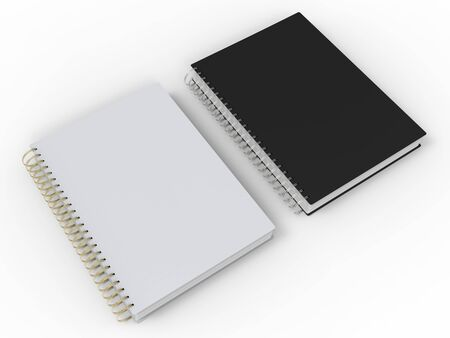 Black and white notebooks with spiral binding - side by side