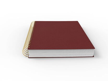 Red leather notebook - spiral binding - low angle view 版權商用圖片 - 133465336