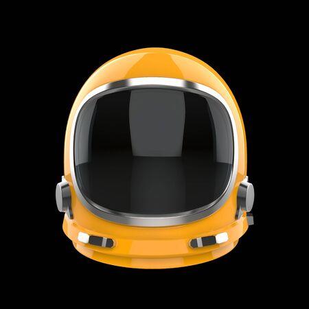 Yellow vintage astronaut helmet - isolated on black background Stok Fotoğraf