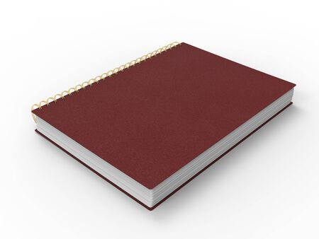 Red leather notebook - spiral binding